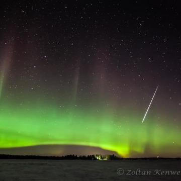 Image: Geminid plus aurora