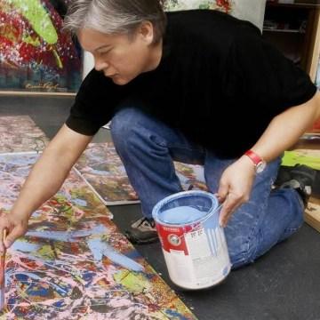 Artist Dominic Pangborn at work in his Detroit studio.