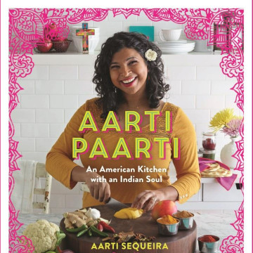 The cover for Aarti Sequeira's new cookbook, featuring Indian fusion recipes.