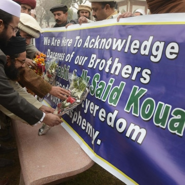 Image:  Funeral service for Kouachi brothers in Peshawar, Pakistan