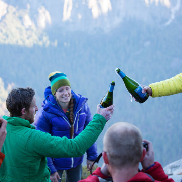 Image: Climbers Tommy Caldwell and Kevin Jorgeson celebrate on the summit of El Capitan