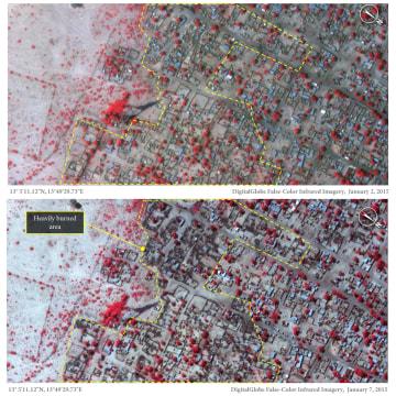 Baga, North Eastern Nigeria Satellite view on 2 Jan 2015 and 7 Jan 2015
