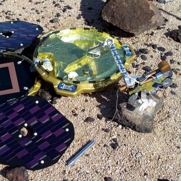 Image: A handout image of a model of the Beagle 2 lander