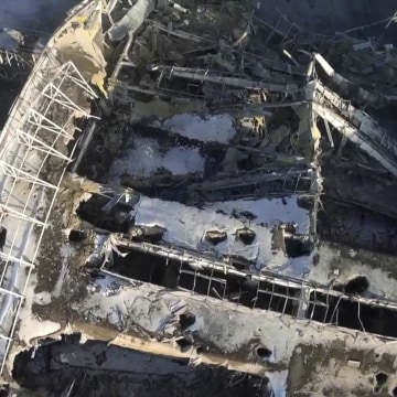 Image: Still image taken from handout aerial footage shot by a drone, shows the terminal building of the Sergey Prokofiev International Airport damaged by shelling during fighting between pro-Russian separatists and Ukrainian government forces, in Donetsk