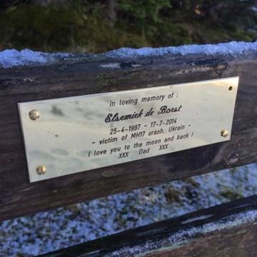 Image: A bench memorializing MH17 victim Elsemiek de Bors