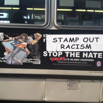"""One of the bus ads """"made over"""" by San Francisco street artists, featuring Muslim comic heroine Ms. Marvel."""