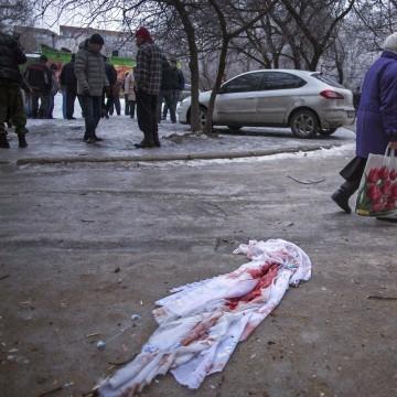 Image: Scene of deadly shelling in Donestk, Ukraine, on Thursday