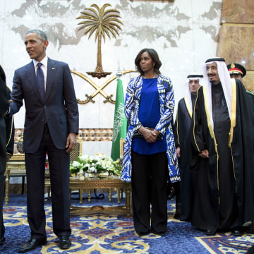 Image: Barack Obama, Salman bin Abdul Aziz, Michelle Obama
