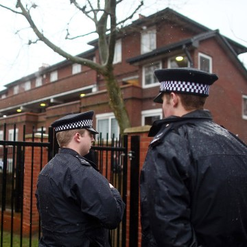 Image: Police near former home of Mohammed Emwazi in London on Feb. 26