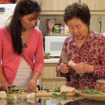 "Caroline Shin with her grandmother, Sanok Kim, in the first episode of ""Cooking with Granny."""