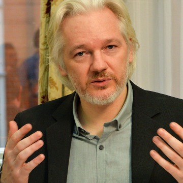 Image: WikiLeaks founder Julian Assange pictured in August 2014 during a press conference inside the Ecuadorian Embassy in London