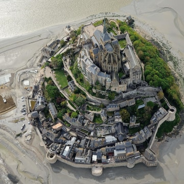 Image: An aerial view of Mont-Saint-Michel on May 5, 2014