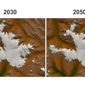 Image: Changes to glaciers through 2100 in the Canadian Rockies