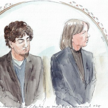 Image: Tsarnaev and his lawyer Judy Clarke as the verdict is announced on April 8, 2015.