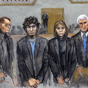 Image: Dzhokhar Tsarnaev with defense team