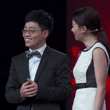 Image: Comedian Joe Wong during the taping of his show in Beijing.