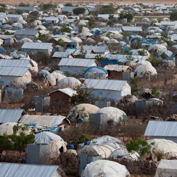 Image: An aerial view shows an extension of the Ifo camp, one of the several refugee settlements in Dadaab