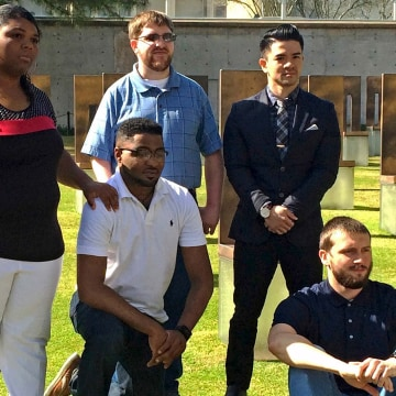 Image: Nekia McCloud, PJ Allen, Brandon Denny, Chris Nguyen and Joseph Webb (L-R) reunite for the first time in ten years at the Oklahoma City National Memorial and Museum in Oklahoma City, Oklahoma