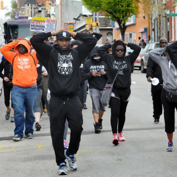 Image: Baltimore protest after death of Freddie Gray