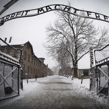 Image: The entrance of Auschwitz-Birkenau concentration camp on Jan. 25, 2015