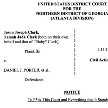 IMAGE: Title of Tamah Jada Clark's court filing