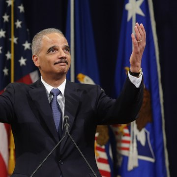 Image: Farewell Ceremony Held For Outgoing Attorney General Eric Holder At Justice Dept.