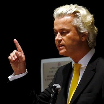 Image: Dutch politician Geert Wilders speaks at Muhammad Art Exhibit and Contest in Garland, Texas