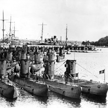 Image: German U-boats on display for Admiral Horthy regent of Hungary guest of Hitler.