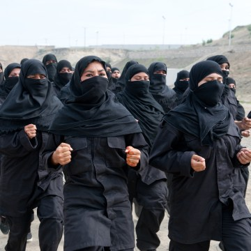 Elite female commandos recruited to fight the Taliban train in Nowshera, Pakistan