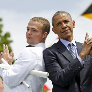 Image: Obama poses as James Bond at the Coast Guard Academy Commencement in New London, Connecticut