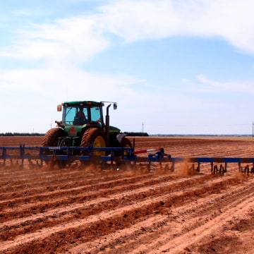 Image: a West Texas cotton grower tills a field north of Lubbock, Texas