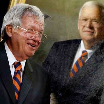 Image: FILE - Former House Speaker Dennis Hastert Indicted On Federal Charges Members Of Congress Unveil Portrait Of Former Speaker Hastert