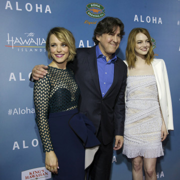 "Image: Director of the movie Crowe poses with cast members McAdams and Stone at a special screening of ""Aloha"" in West Hollywood"