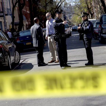 Image: Police are seen near the scene of a shooting in New York City