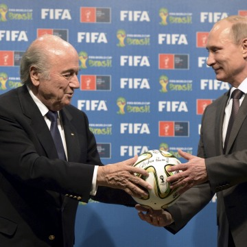 Image: File photo of Russian President Putin and FIFA President Blatter take part in official hand over ceremony for 2018 World Cup in Rio de Janeiro