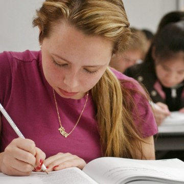 Image: Student takes sample SAT test.