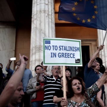 Image: A protester during a pro-European demonstration in front of the Greek parliament in Athens.