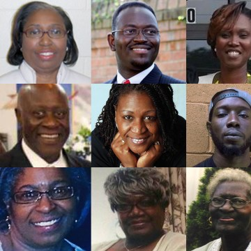 Image: Nine victims of the Charleston church shooting.   Top row: Cynthia Hurd, Rev. Clementa Pinckney, Rev. Sharonda Coleman-Singleton middle row: Daniel Simmons,  Rev. Depayne Middleton Doctor, Tywanza Sanders Bottom row: Myra Thompson, Ethel Lee Lance,