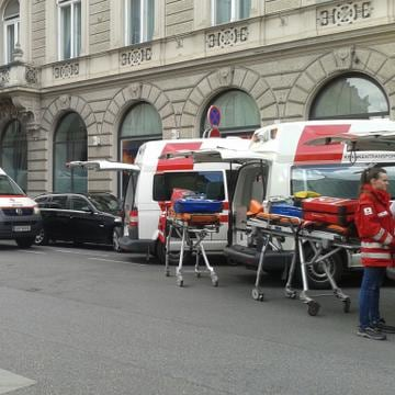 Image: Bystanders Tweeted pictures of ambulances lined up in the center of Graz, Austria.