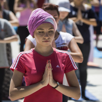 Image: Participants mark the International Day of Yoga in Almaty