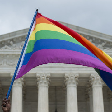 Image: A rainbow flag is flown outside the Supreme Court in Washington, DC on Friday after its historic decision on gay marriage.