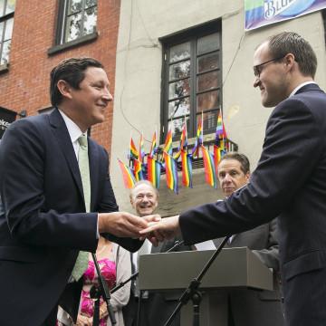 Image: Gov. Andrew Cuomo, David Turley, Peter Thiede, Gay Pride Parade