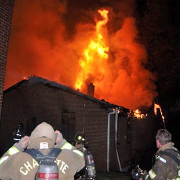 Image: Fire at Briar Creek Road Baptist Church in Charlotte, North Carolina