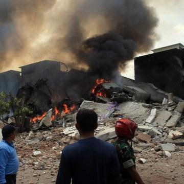 Image: Plane crash in Medan, Indonesia