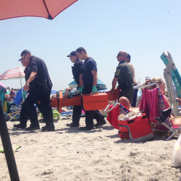 Image: A beach in Narragansett, Rhode Island, was evacuated around 12 p.m. Saturday