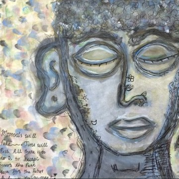 Image: Bo Daraphant drew inspiration from his life experience in his expressive watercolor of a dreamer.