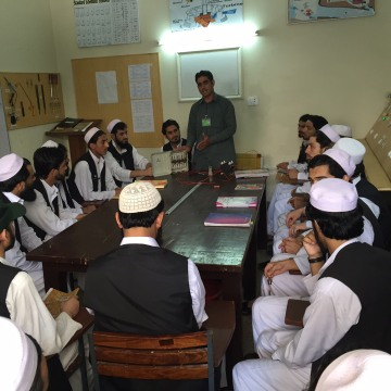 Image: Former Taliban fighters attend a physics class
