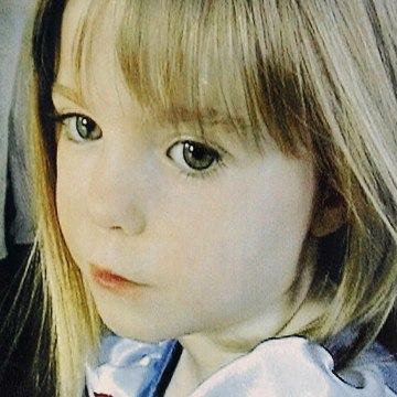 Image: Close-up of a poster featuring British girl Madeleine McCann