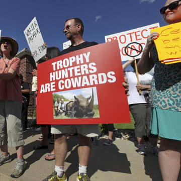 Protesters rally outside the River Bluff Dental clinic against the killing a famous lion in Zimbabwe, in Bloomington, Minnesota