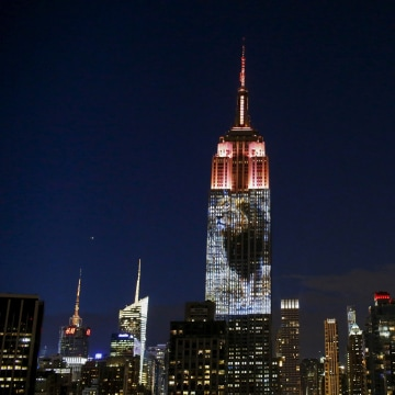 Image: An image of Cecil the lion is projected onto the Empire State Building as part of an endangered species projection to raise awareness, in New York